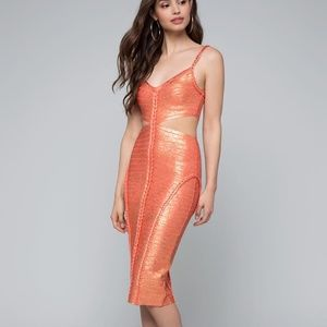 BEBE BRAIDED FOIL BRAID DRESS IN FUSION CORAL S